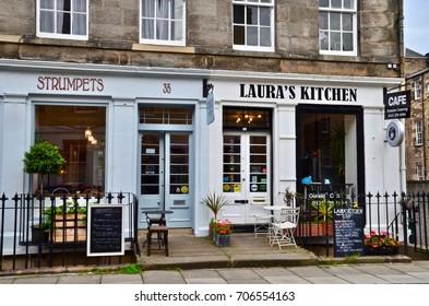 Cafe at the West End of Edinburgh. Edinburgh Scotland Great Britain. August 2017