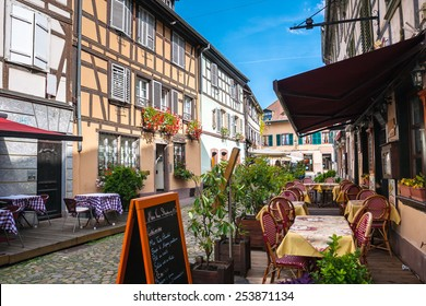 Cafes in Petite-France in Strasbourg. Petite-France is an historic area in the center of Strasbourg, France
