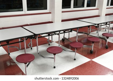 cafeteria with tables and chairs put aside
