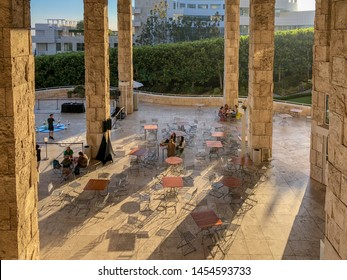 Cafeteria  terrace The Getty Center museum in Los Angeles California, USA. Designed by architect Richard Meier. Famous tourist attraction. The J. Paul Getty Museum, art museum. 07/13/2019