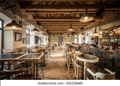 Caffe bar interior in wooden