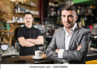 Caffe guest and barista