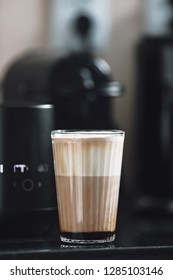 caffe latte at home in the kitchen