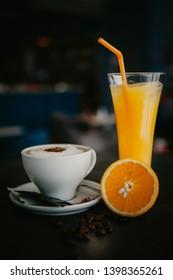 Caffe and Orange juce  in caffe  bar