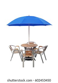 caffe table chair parasol,isolated on white background