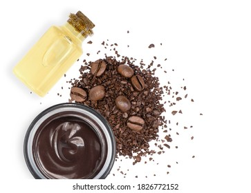 Caffeine body beauty skincare cream with glass bottle of coffee essential oil extract and coffee beans isolated on white background. Chocolate skin treatment concept.Top view. Flat lay. - Shutterstock ID 1826772152