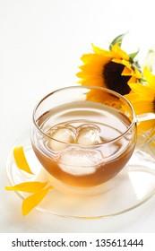 caffeine-free Roasted barley tea with sun flower for japanese summer drink image