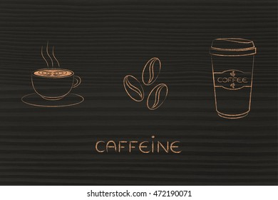 caffeine-related illustration: cup with latte art, coffe beans & tumbler