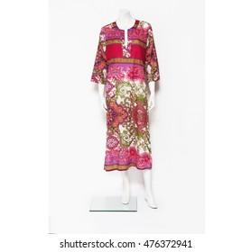 caftan floral summer dress on a mannequin dummy