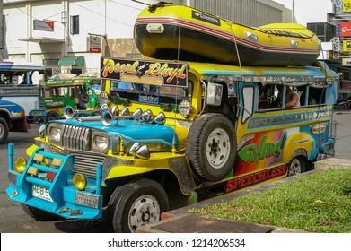 Cagayan de Oro, Mindanao, Philippines - November 16 2006: A colorful Jeepney