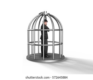 Cage with man thinking inside, isolated on white.