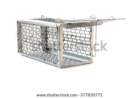 Cage mousetrap isolated on white background