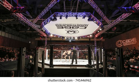 Cage Warriors 87, Newport Wales, 14-10-2017, Cage Warriors Octagon and set up