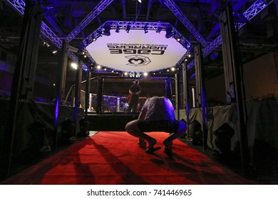 Cage Warriors 87, Newport Wales, 14-10-2017. Fighter prepares to enter the Octagon, in the prelim fights in Cage Warriors