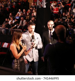 Cage Warriors 87, Newport Wales, 14-10-2017, Cage Warrior CEO , Graham Boylan talks to Dan The Hit Man Hardy UFC and TV personality Layla Anna-Lee
