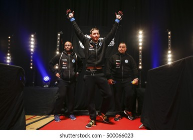 Cage Warriors Wales  Newport Leisure Centre, Newport, Gwent, Wales. UK. October-15-2016 Martin Svensson (Sweden) acknowledges the crowd as he enters the arena.