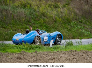 CAGLI , ITALY - OTT 24 - 2020 : MASERATI 200 S1955 on an old racing car in rally Mille Miglia 2020 the famous italian historical race (1927-1957)