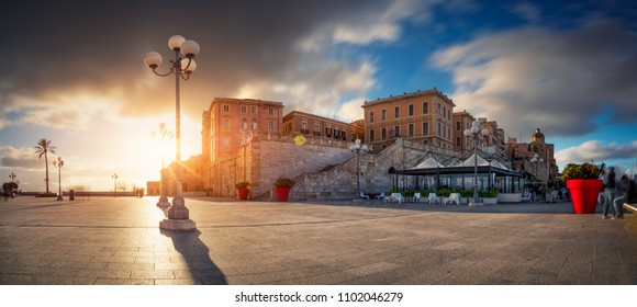 Cagliari, Bastion of Saint Remy at sunset in a long exposure