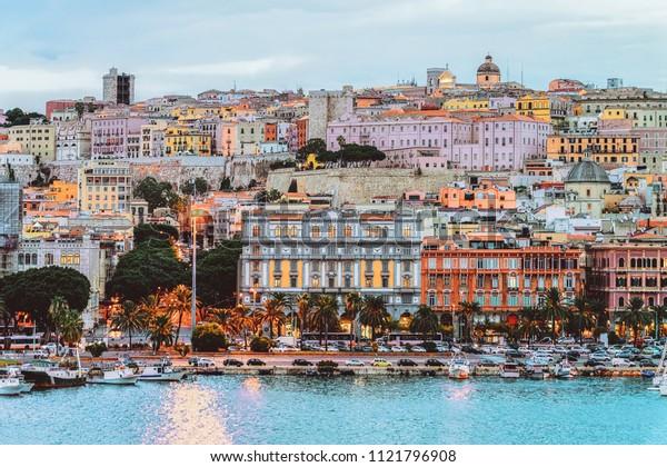 Cagliari cityscape and architecture with Mediterranean Sea in Sardinia island, Summer Italy