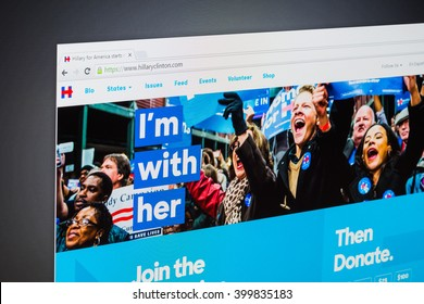 """Cagliari, ITALY - 22/02/2016: Homepage of website """"Hillary Clinton"""" photographed on computer screen. Browser used Google. Hillary Diane Rodham Clinton is an American politician."""