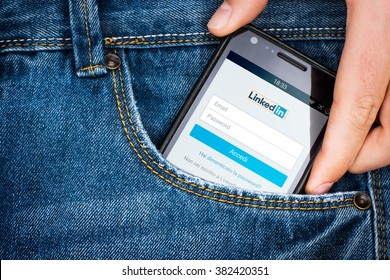 "Cagliari, Italy - 23/02/2016: Smartphone in a jeans pocket with "" LinkedIn "" login page on screen"