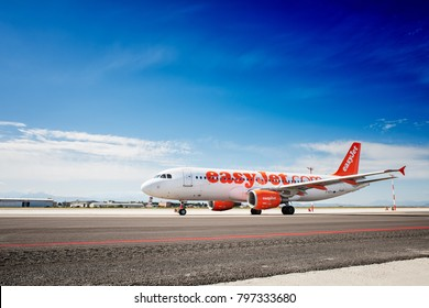 Cagliari, Italy - 4/01/2014; Easyjet Airbus A320 taxing to take off