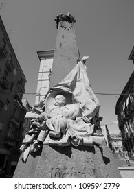 CAGLIARI, ITALY - CIRCA SEPTEMBER 2017: Monumento ai caduti delle guerre di indipendenza (meaning Memorial to the dead of the War of Independence) in black and white