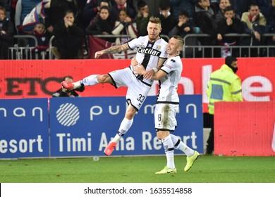 Cagliari, Italy, February 01 2020 juraj kucka of parma calcio ,  goal ,  happiness during Cagliari vs Parma italian Serie A soccer match