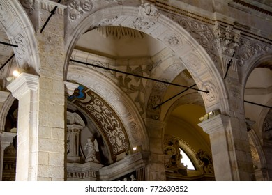 CAGLIARI, ITALY - MARCH 31, 2015: Religious procession of the Holy Week, interior architecture of the Cathedral - Sardinia