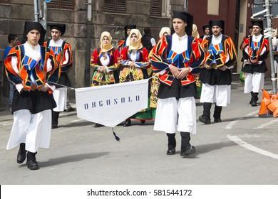 CAGLIARI, ITALY - May 1, 2013: 357 Religious Procession of Sant'Efisio - Sardinia - parade of the folk group of Orgosolo