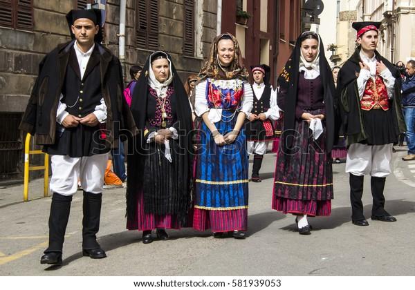 CAGLIARI, ITALY - May 1, 2013: 357 Religious Procession of Sant'Efisio - Sardinia - parade in traditional Sardinian costume