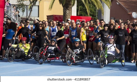 CAGLIARI, ITALY - November 4, 2012: 5th Half Marathon - 4th memorial Delio Serra - Andalusia - hand bike Athletes on departure