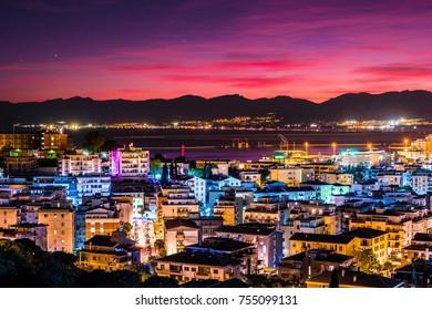 Cagliari at night, capital of the region of Sardinia, Italy. Beautiful skyline image of the big city on the island.