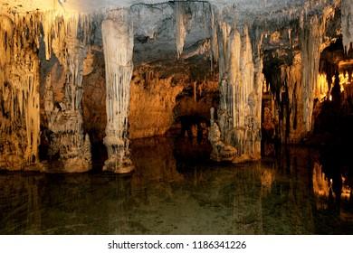 Cagliari, Sardinia 23.09.2008. Scenic view of Neptune's cave (Grotte di Nettuno) is a stalactite cave near the town of Alghero, Capo Caccia