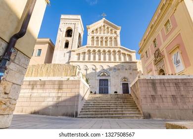 Cagliari, Sardinia island, Italy - December 12, 2019: Neo Gothic facade of Cagliari Cathedral of Saint Mary in Sardinia Iisland, Italy