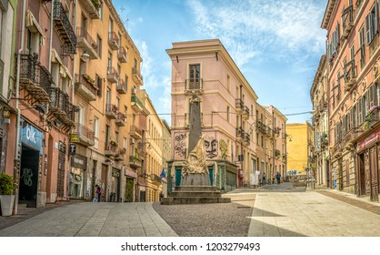 CAGLIARI, Sardinia, Italy - april 29, 208: The Piazza Martiri d'Italia in the center of the old town quarter of Cagliari, Sardinia.