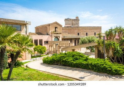 CAGLIARI, Sardinia,Italy- april 29, 2018: indoor garden to the National Archaeological Museum in the Castle district of Cagliari (The Cidadel of museums). The Museum is in the historic center of town.