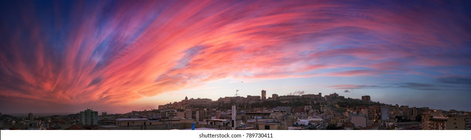 Cagliari Skyline at sunset. Colorful sunset over the city of Cagliari, Sardinia, Italy.