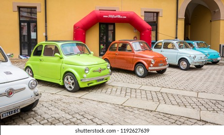 Cagliari,Italy May 1, 2018: Fiat 500 Club meeting. The Fiat 500 (Italian:Cinquecento) is a city car which was produced by the Italian manufacturer Fiat between 1957 and 1975.