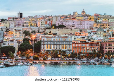 Cagliary cityscape and architecture with Mediterranean Sea in Sardinia island, Summer Italy