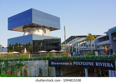 CAGNES-SUR-MER, FRANCE -20 APR 2018- View of the landmark Polygone Riviera mall building in Cagnes-sur-Mer near Nice and Antibes on the French Riviera.