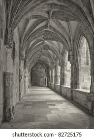 Cahors cathedral inner court black white antique fine art look