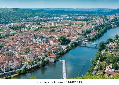 Cahors as seen from Mont Saint Cyr in Lot, Midi-Pyrenees, France.