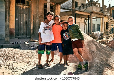 Caibarien Cuba March 18th 2018 children on the street