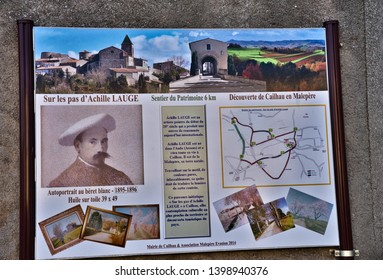 Cailhau Aude France. 05/15/19 commemorative plaque of Acille Lauge in the village square. Self Portrait, a map and some of his work he painted whilst living in Cailhau are displayed.