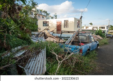 Caimito, Puerto Rico / United States - Dec 2 2017: A house that was completely destroyed by Hurricane Maria stands abandoned.  Nieghbors don't know where its owners went.