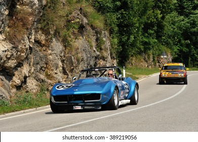 CAINO (BS), ITALY - JUNE 27: A blue Chevrolet Corvette Stingray SCCA / IMSA car takes part to the Nave Caino Sant'Eusebio race on June 27, 2015 in Caino (BS). The car was built in 1969.