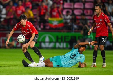 Caion no.10 (green) of Prachuap F.C.in action The Football Thai League match between SCG Muangthong United and PT Prachuap F.C.at SCG Stadium on February24,2019 in Nonthaburi,Thailand