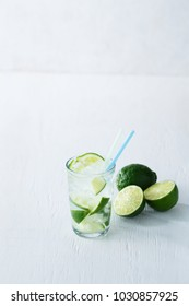 Caipirinha cocktail with lime