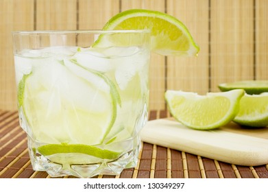 Caipirinha cocktail with limes ,white rum, sugar and ice./White Rum Cocktail